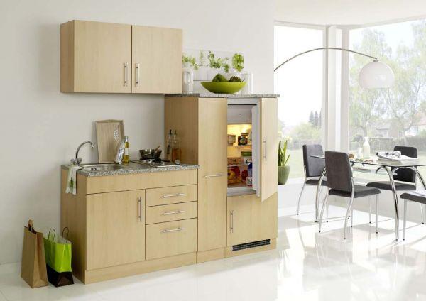 klassische single k che 190 breit mit einbauk hlschrank. Black Bedroom Furniture Sets. Home Design Ideas