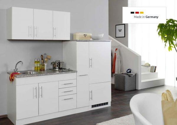 Singleküche 180 cm Weiß mit Einbaukühlschrank