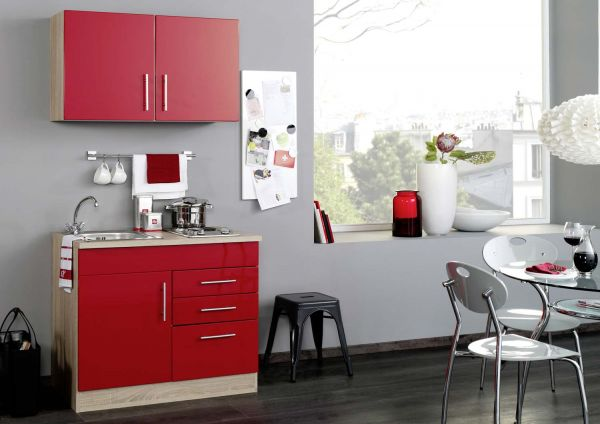 minik che 100 cm in rot mit kochfeld. Black Bedroom Furniture Sets. Home Design Ideas