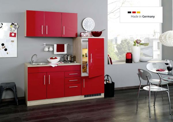 single k che 180 cm rot mit einbauk hlschrank und sp le. Black Bedroom Furniture Sets. Home Design Ideas