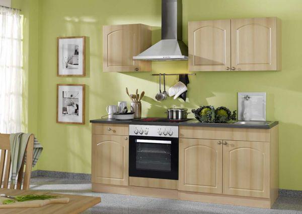 Küche 210 cm ohne Elektrogeräte Buche