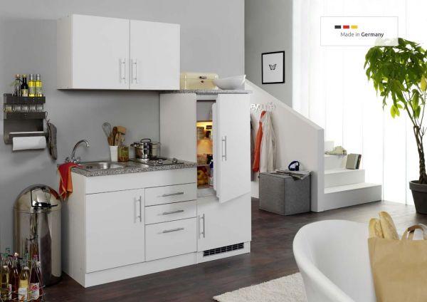 Single-Küche 160 cm Weiß mit Kühlschrank