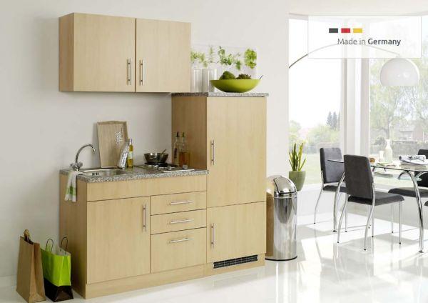 Singleküche mit Glaskeramik Kochfeld und Kühlschrank 160 cm