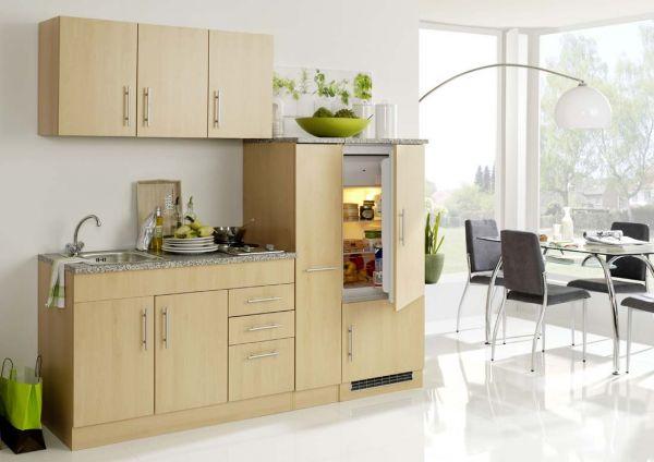 Moderne Singleküche mit Einbau Kühlschrank buche dekor