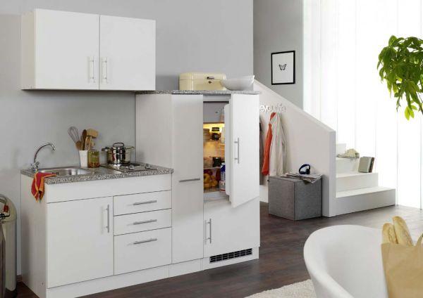 Singleküche mit Kochfeld und Kühlschrank Hochglanz weiß