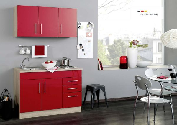 singlek che in rot 120 cm mit 2er single kochmodule. Black Bedroom Furniture Sets. Home Design Ideas