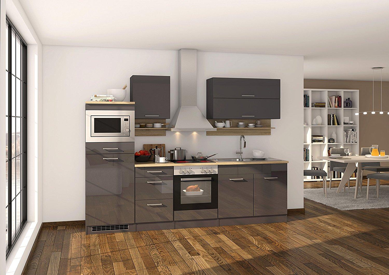 Küche mit Elektrogeräten in Hochglanz Grau 270 cm