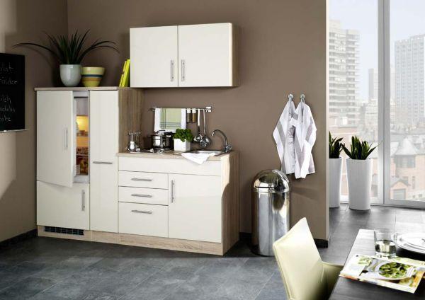 Single Küche mit Apothekerschrank Hochglanz Creme