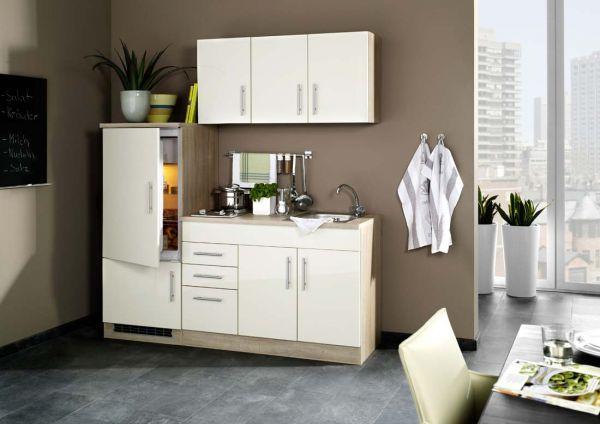 Singleküche Hochglanz Creme mit Kühlschrank 180 cm breit
