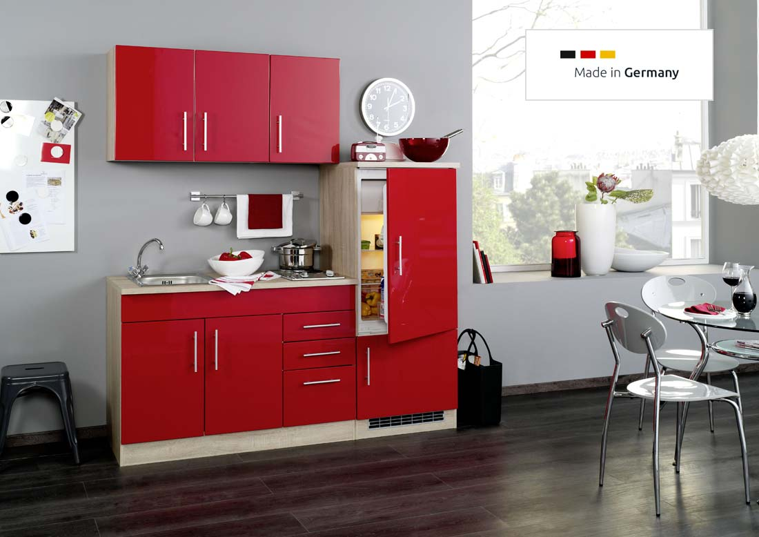 single k che 180 cm rot mit einbauk hlschrank und sp le. Black Bedroom Furniture Sets. Home Design Ideas