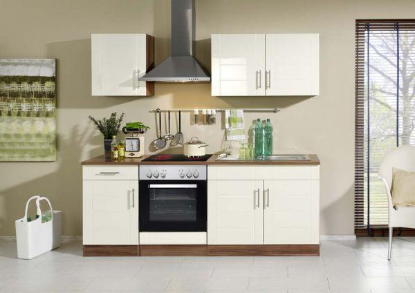 Küche 210 cm Hochglanz Creme ohne Elektorgräte