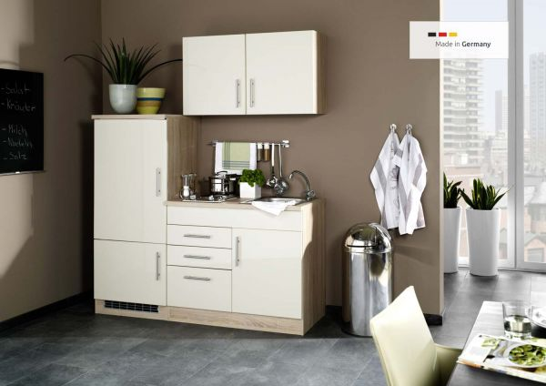 singlek che mit k hlschrank 160 cm hochglanz creme. Black Bedroom Furniture Sets. Home Design Ideas