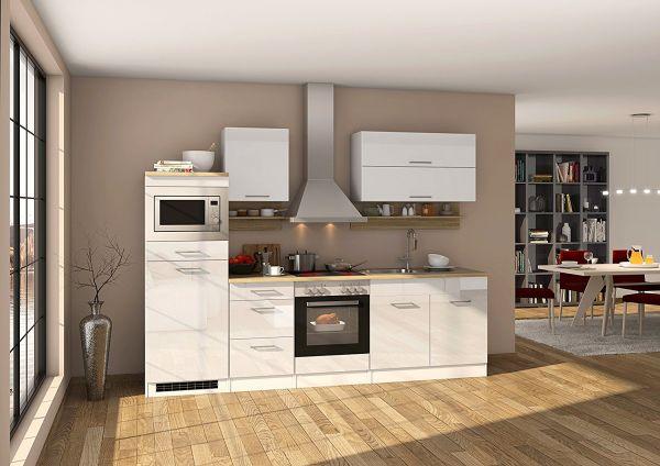 Küche 270 cm Hochglanz Weiß mit Backofen und Dunstabzugshaube