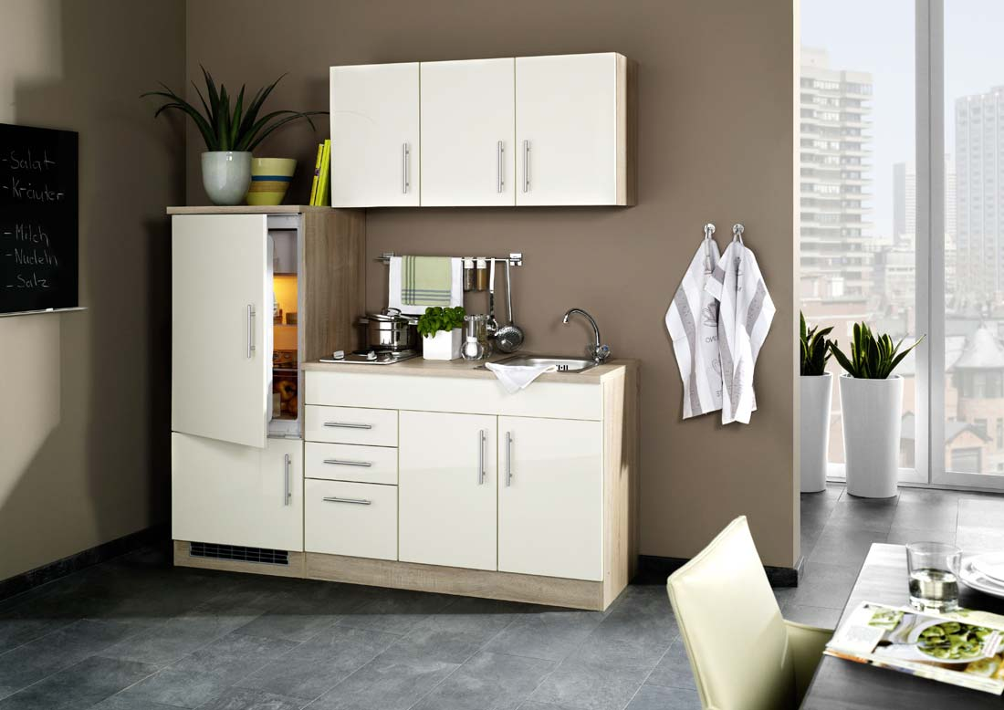 hochglanz creme singlek che 180 cm mit k hlschrank. Black Bedroom Furniture Sets. Home Design Ideas