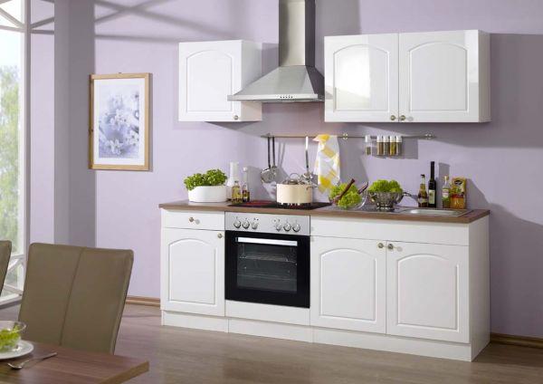 klassische k che mit einer breite von 210 cm in wei. Black Bedroom Furniture Sets. Home Design Ideas