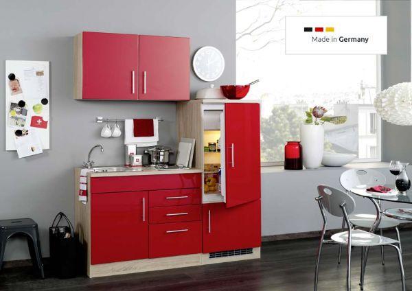 Single Küche 160 cm in Rot mit Einbaukühlschrank