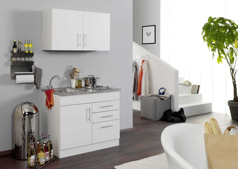 Miniküche Mit Kühlschrank 100 Cm : Schöne miniküche cm in weiß mit kochfeld und einbauspüle
