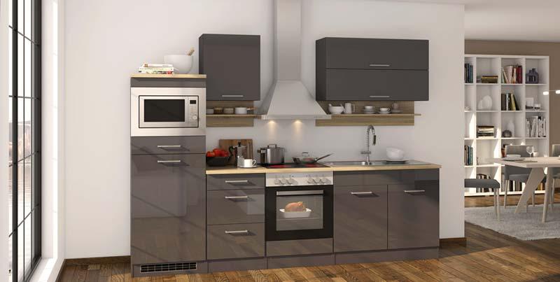Design Küche anthrazit Seidenglanz 300 cm