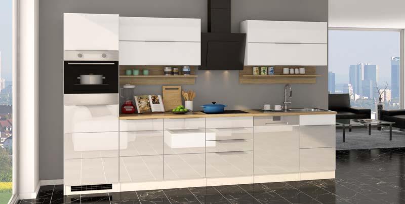 Designer Küche in Hochlganz weiß mit Einbau-Kühlschrank
