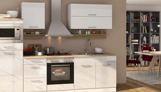 Hochwertige Designer Küche mit E-Geräten in Hochglanz weiß direkt vom Hersteller