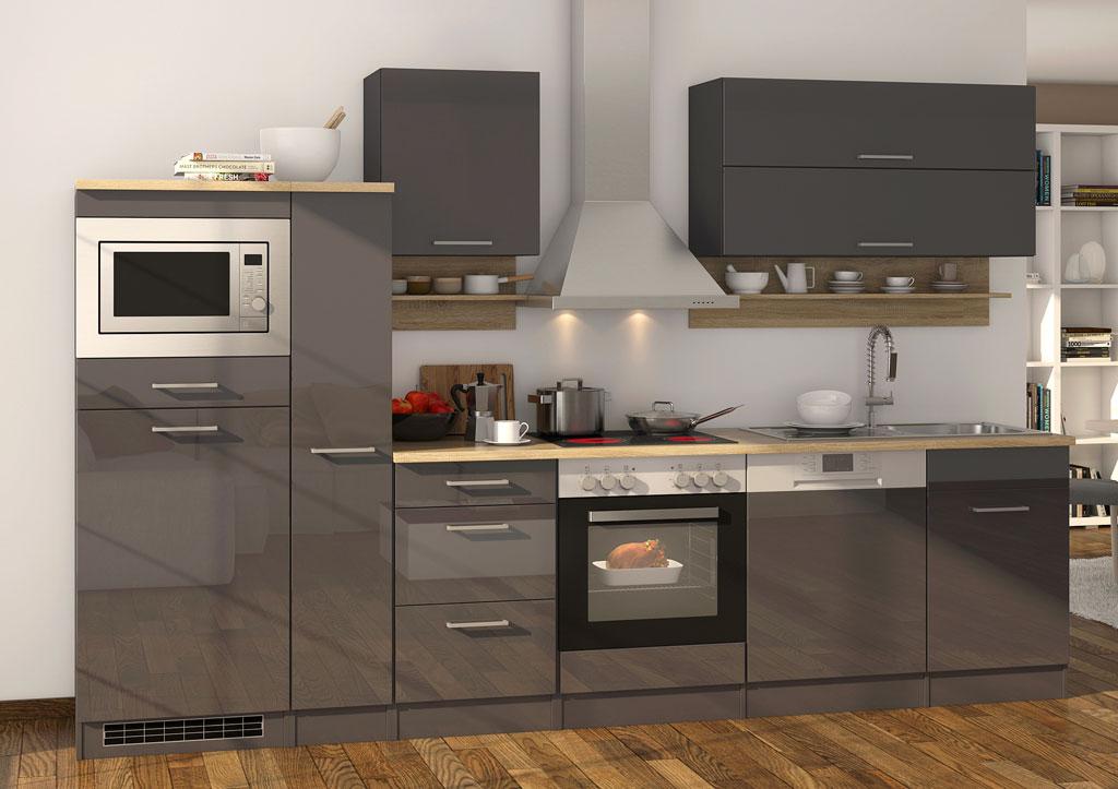 Küche weiß Hochglanz anthrazit mit Kühlschrank und Backofen