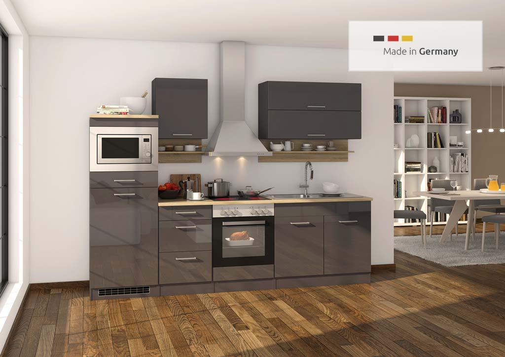 Wunderschöne Küchenzeile in anthrazit Hochglanz mit Elektrogeräte