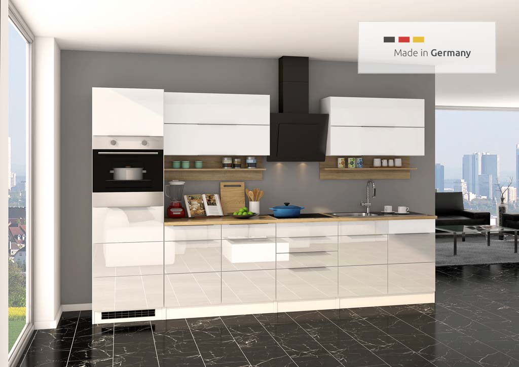 Klassische Küchenzeile in Hochglanz weiß mit einer Breite von 300 cm